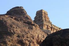 Rock and Temple at Badami Royalty Free Stock Photo