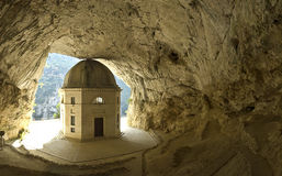 Rock Temple in the mountain. Suggestive shot of the Temple of Valadier in the cave of rock, Italy Stock Photography