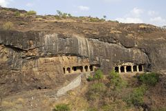 Rock Temples at Ellora Caves stock images