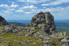 Rock on the Third Bugor Mount in Northern Ural Mountains Stock Images