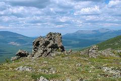 Rock on the Third Bugor Mount in Northern Ural Mountains, Russia Stock Photography