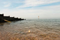 Rock throwing into Whitstable bay Stock Photos