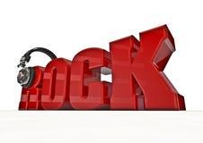 Rock title. 3D render of word rock with headphones Stock Photo