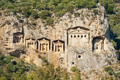 The Rock Tombs. Ancient Lykian royal burial tombs carved in cliff on river Dalyan in Turkey Stock Photo