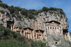 The rock-tombs. In Turkey,before IV. century B.C Stock Photos