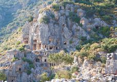 Rock tombs. Of the ancient city Mira. Turkey stock photos