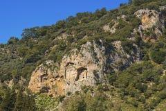 The rock tombs dalyan river  at Dalyan, Turkey royalty free stock images