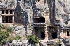 Rock tombs of Demre Myra, Turkey Royalty Free Stock Photography
