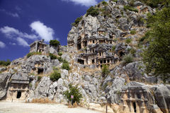 Rock tombs of Demre Myra, Turkey Royalty Free Stock Photography