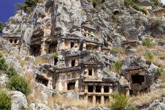 Rock tombs of Demre Myra, Turkey Royalty Free Stock Photos