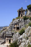 Rock tombs of Demre Myra, Turkey Royalty Free Stock Images