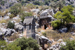 Rock tombs of Demre Myra, Turkey Royalty Free Stock Image