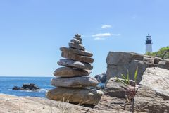 Rock Tower by the Atlantic Ocean stock photos