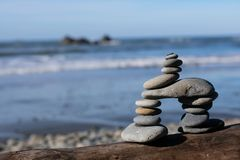Rock Tower on the Beach stock photo
