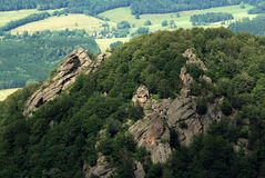 Rock tower Oresnik in the Jizera Mountains Stock Images