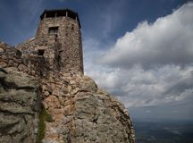 Rock Tower overlooking valley in the black hills of South Dakota Stock Images