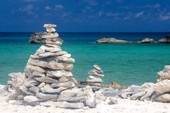Rock Towers at Caribbean Beach Royalty Free Stock Photo