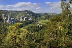 Rock Town. View of sand rocks near Adrspach village in the north eastern part of the Czech Republic Royalty Free Stock Photos