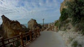 Rock trail in Aktau. New trail along the rocks in Aktau.Coast of the Caspian Sea.Kazakhstan stock video footage