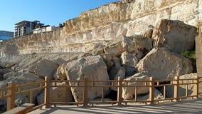 Rock trail in Aktau. New trail along the rocks in Aktau. Coast of the Caspian Sea. Kazakhstan stock video footage