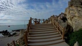 Rock trail in Aktau. New trail along the rocks in Aktau. Coast of the Caspian Sea. Kazakhstan stock footage