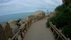 Rock trail in Aktau. New trail along the rocks in Aktau.Coast of the Caspian Sea.Kazakhstan stock video