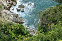 Rock and trees above the sea, Dubrovnik. Top view of rocks and trees above the sea, Dubrovnik,Croatia Royalty Free Stock Photography