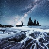 The Rock Troll Toes. Reynisdrangar cliffs. Black sand beach. Iceland Stock Image