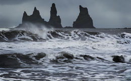 The Rock Troll Toes. Reynisdrangar cliffs. Iceland. Royalty Free Stock Images