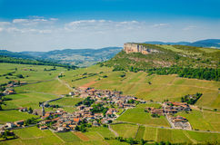 The Rock Of Vergisson and wine yard's, Burgundy, France Stock Image