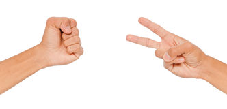 Rock Versus Scissor Stock Photo