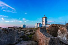 Rock view background with the Lighthouse of Cape Carvoeiro, Peniche, Portugal. Europe building coast landscape old sky beach coastline nature ocean sea summer stock photos