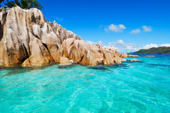 Rock view from the ocean Stock Photography