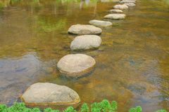 Rock walkway lines patterns in river background. Close up Rock walkway lines patterns in river background stock photos
