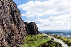 Rock wall on the Carlton Hill in Edinburgh, Scotland,. UK Stock Photography