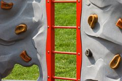 Rock Wall at Children's Playground Stock Images