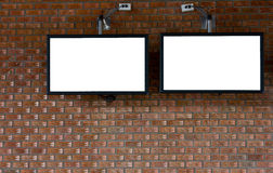 Rock wall with LCD tv Stock Images