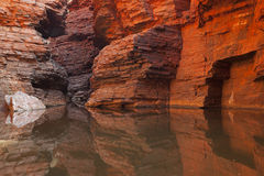 Rock wall reflections in a gorge, Karijini NP, Australia Stock Photos