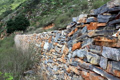 Rock Wall. Stones stacked as a wall or barrier fence in central Mexico royalty free stock images