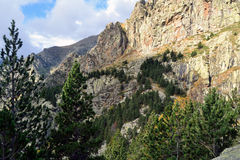Rock walls in the eastern Pyrenees. Rock walls and spurs appear above the forest. Coma de Vaca Valley. Queralbs, Girona, Catalonia Royalty Free Stock Photography