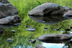 Rock, water, reflection. Rocks and reflection of green in the river Stock Photos