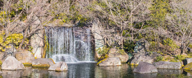 Rock waterfall garden Stock Photo