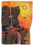 Rock and Waterfall (2009). A nature landscape where a waterfall is flowing from a rock into a lake while the sun is standing high in the sky royalty free illustration