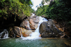Rock and waterfall. A Summer time with waterfall in tropical forest in Thailand Stock Images