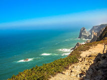 Rock. The West coast of Portugal is a continuous inaccessible cliff stock photo