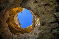 Rock window Atlantic Ocean,the province of Algarve, Portugal Stock Photos