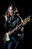 Rock Woman Bassist Royalty Free Stock Photos