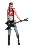 Rock woman with electric guitar Royalty Free Stock Photos
