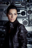 Rock Woman With Boom Box Background Royalty Free Stock Photos
