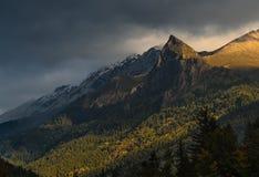 Rock Zakan at sunrise. Caucasus mountains. Stock Photo